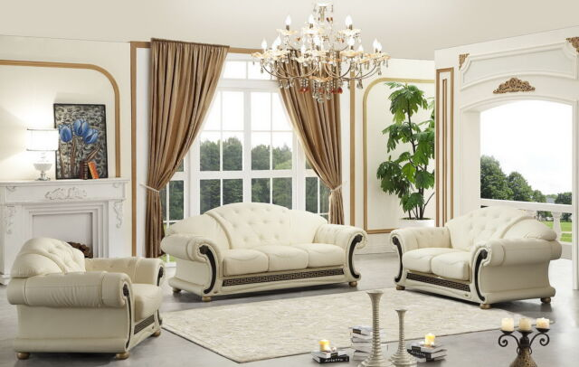 Apolo Sofa and Loveseat Living Room Set in Ivory 100% Genuine Italian  Leather
