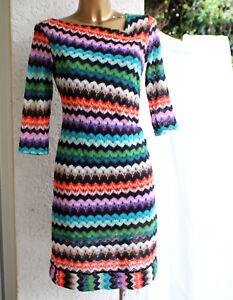 Comma Strick-Kleid 34 grün türkis rot orange weiß lila ...