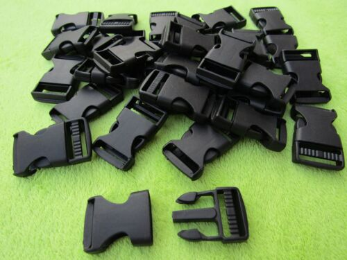 200 Black Plastic Side Release Buckle 25mm fastenings,webbing,paracord etc