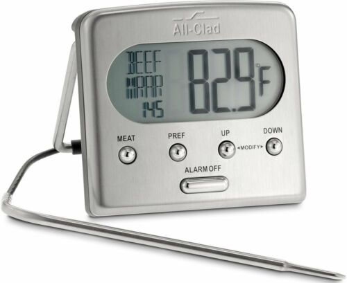 All-Clad T223 Stainless Steel Oven Probe Thermometer with Blue LCD