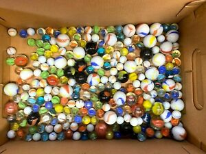 Mixed-Lot-of-240-Glass-Marbles-4-Pounds-Includes-Shooters