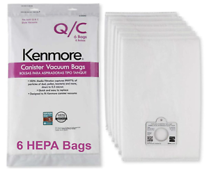 Kenmore 20-53292 6 Pack Canister Vacuum Bags For Q/C Style Vacuums
