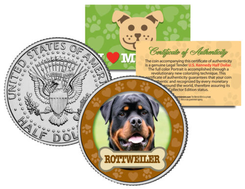 ROTTWEILER Dog JFK Kennedy Half Dollar US Colorized Coin