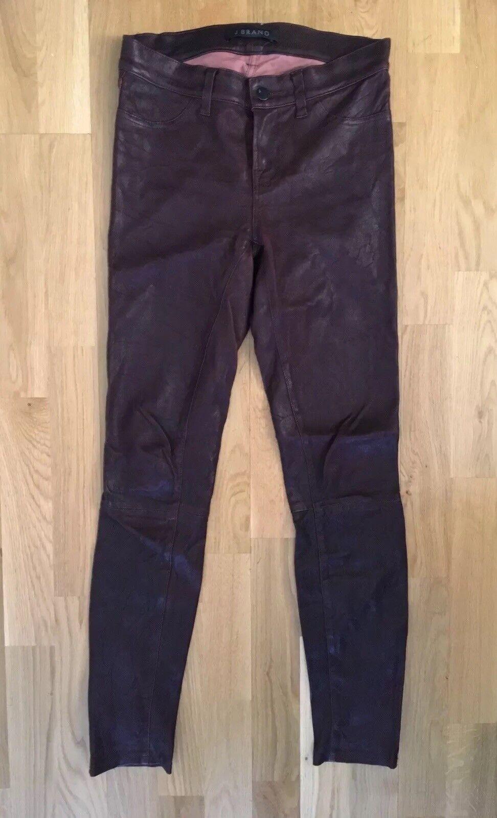 J Brand Oxblood Dark Red Leather Pants Size XS