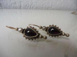 schone-alte-Ohrringe-Ohrhanger-925-Silber-mit-schonem-Steinen-und-Perlen