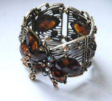 Brown Butterfly w Crystals Cuff Bracelet / Antique Gold-tone Victorian Look