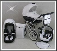 3 In 1 Retro Pram Pushchair + Car Seat 10 Colours +free Accessories