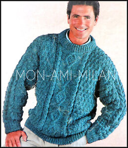 Knitting-Pattern-Mens-Aran-Style-Cable-Sweater-Jumper-Pullover-Top-38-42-034