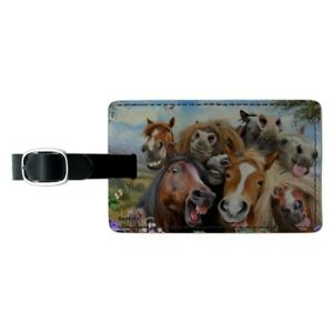 Palamino Horse Selfie Pattern Round Luggage ID Tag Card Suitcase Carry-On