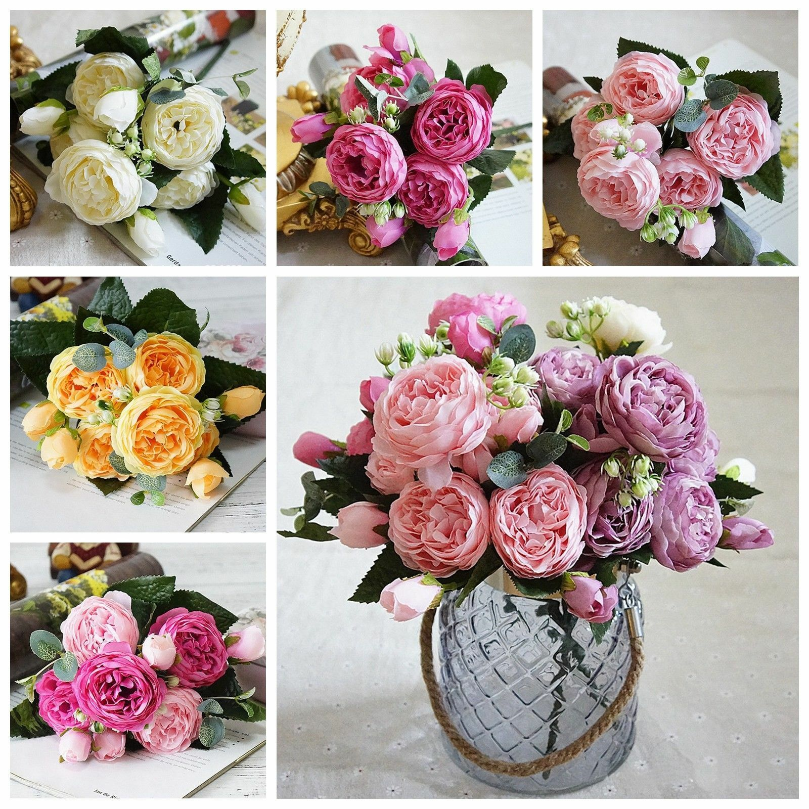 5 Heads Rose Peony Artificial Flowers Silk Pink Bouquet Wedding Home Party Decor