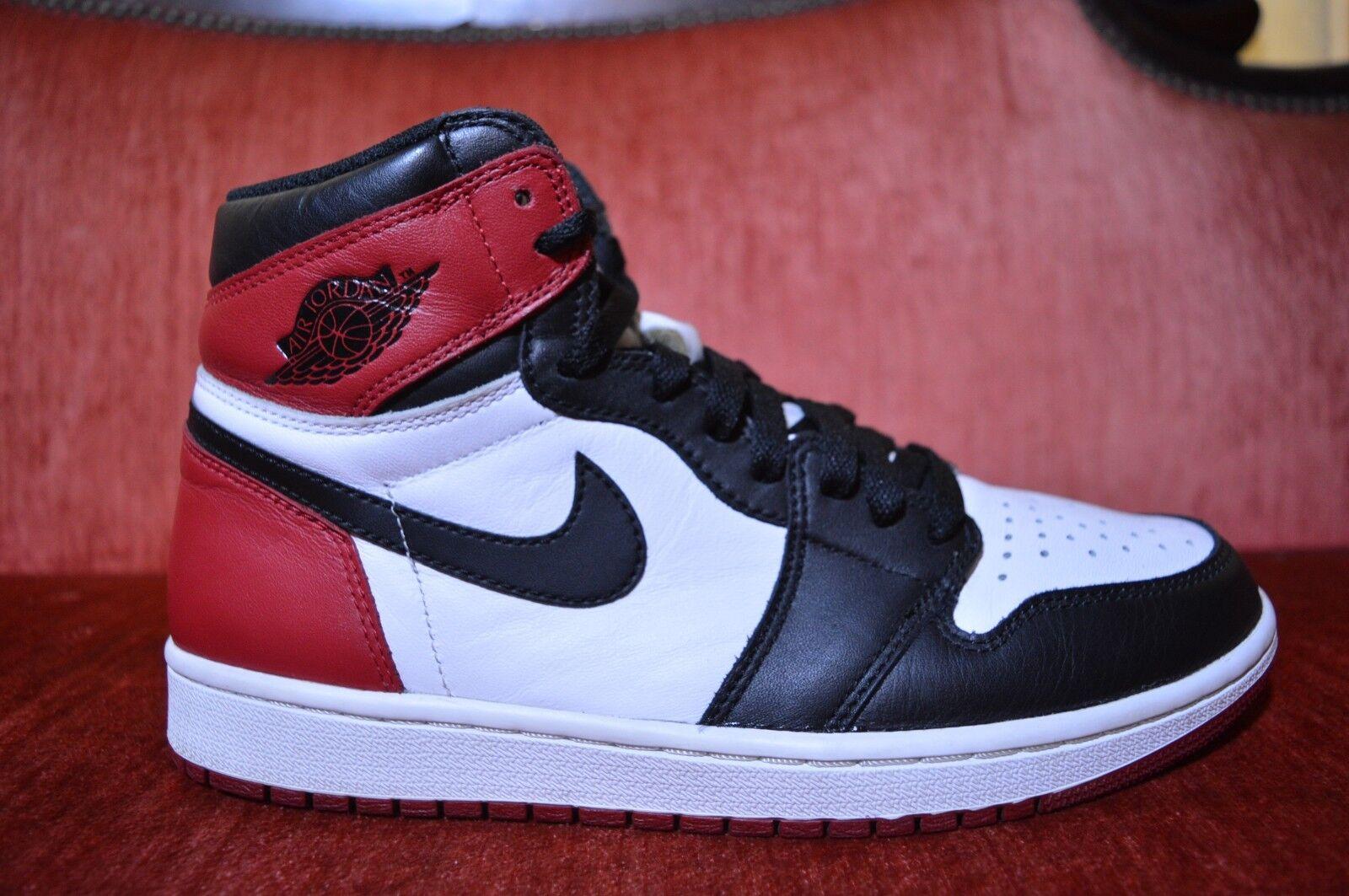 2016 Nike Air Jordan 1 Retro High OG Black Toe Size 8.5 555088-125 Bred