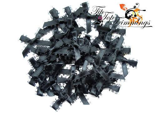 Vente d/'écoulement 40 satin noir picot tranchant archets tout nœud 30mm Large 99p