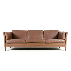 about retro vintage danish rosewood 3 seat seater leather sofa modern