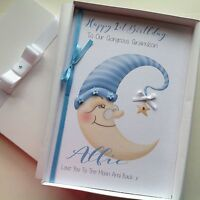 PERSONALISED Handmade 1st 2nd BIRTHDAY CARD Son 'Love You To The Moon And Back'