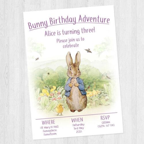 10 X PERSONALISED GIRLS PETER RABBIT CHILDREN/'S BIRTHDAY PARTY INVITATIONS
