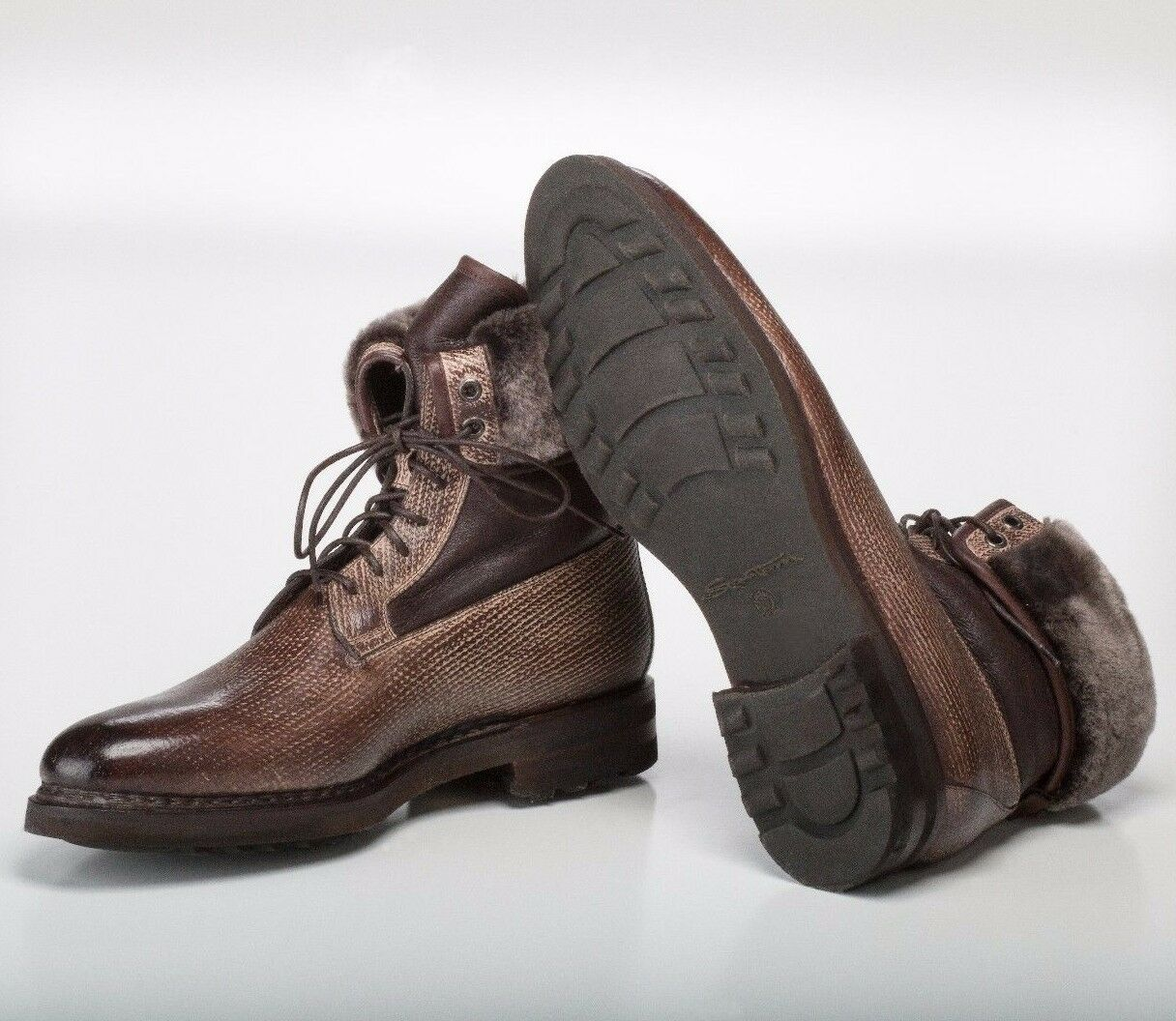 Miglior prezzo Santoni SHEARLING LINED Goodyear Goodyear Goodyear Marrone Brushed Leather Ankle stivali 9US  economico e alla moda