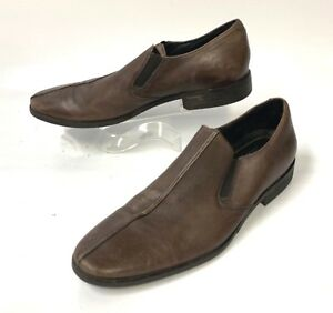 DKNY-John-Brown-Leather-Loafers-Slip-On-Size-11M-sh119