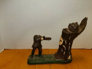 Details about Vintage Mechanical Coin Bank HUNTER TREE BEAR Cast Iron for  Parts Only  Lot L