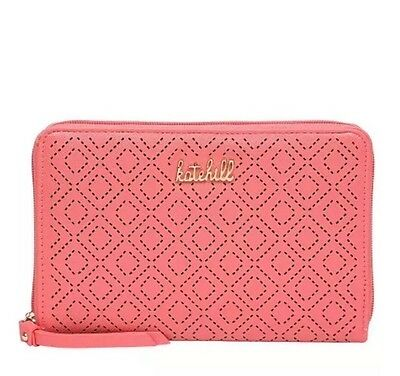 Ladies Kate Hill Pink Coral Pattern Oversized Wallet Large Mirror Big Purse