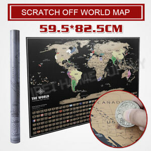 NEW Scratch Off World Map Poster Travel Atlas Decoration 59.5 * 82.5cm