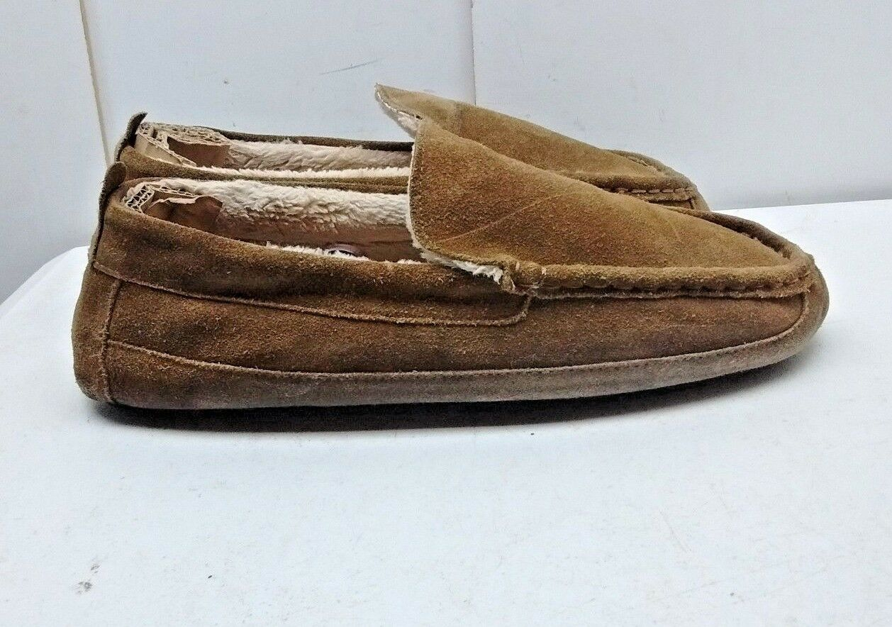Eddie Bauer Jesse Men Brown Suede Leather Indoor Moccasin Slippers shoes 12.5M 47