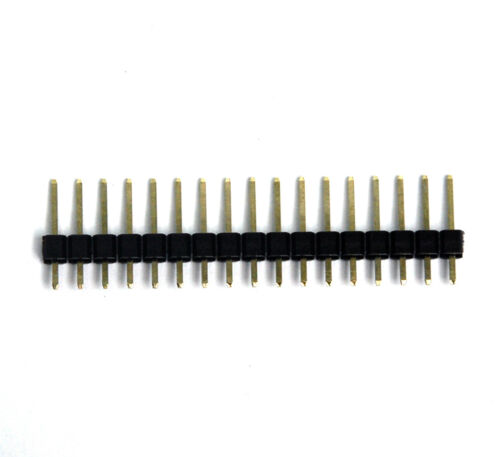100x Plaqué or Single Row 1x17p 1x17 17P Pitch = 2.54 mm h = 11.6 mm Mâle Broches