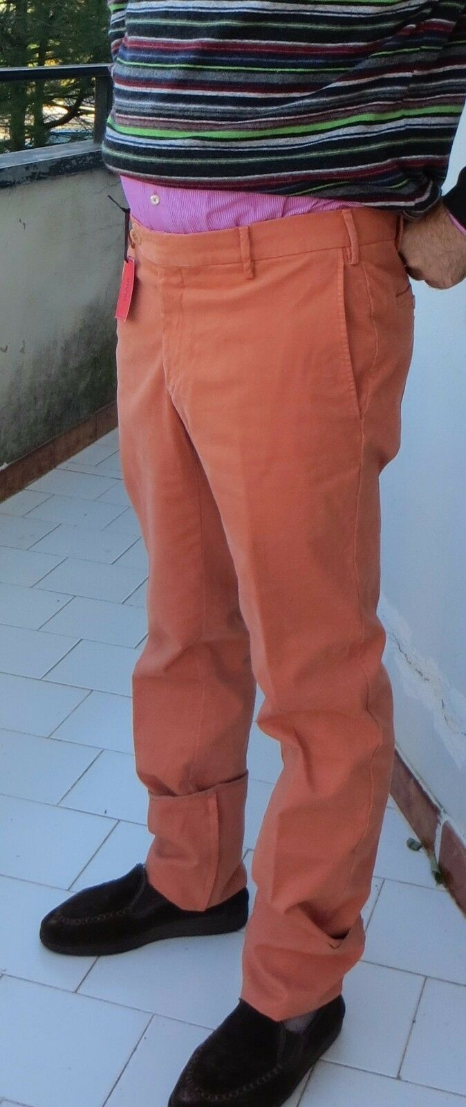 NWT ISAIA PANTS Summer cotton stretch slant orange luxury  eu 50 us 34