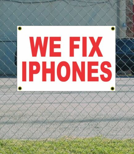2x3 WE FIX IPHONES Red /& White Banner Sign NEW Discount Size /& Price FREE SHIP