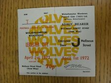 01/04/1972 Ticket: Wolverhampton Wanderers v Leicester City (Complete). This ite