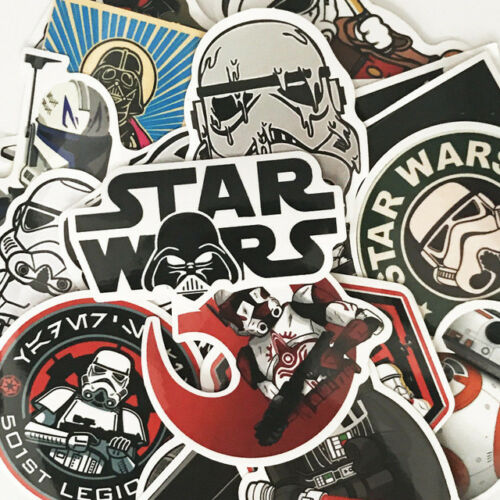 Brand New HUGE Lot of over 100 Random MYSTERY Star Wars STICKERS Color Blck//Wht