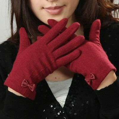 5 color- Women girl's winter wool gloves mitten decorated w/ lovely leather bow