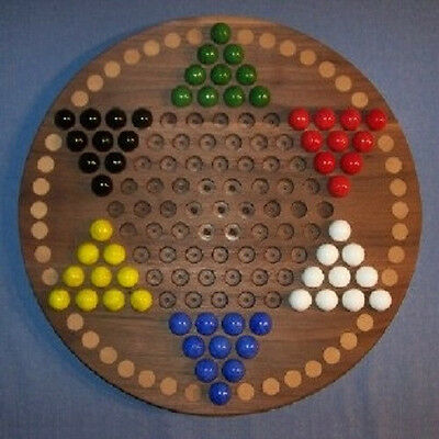 "Wooden Chinese Checkers Board -oiled 18"" Circle, Black Walnut, w/ 42 birch spots"