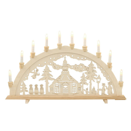 Lichterbogen Schwibbogen 10 Kerzen Seiffener Kirche Seiffen 71 x 40 cm 10372