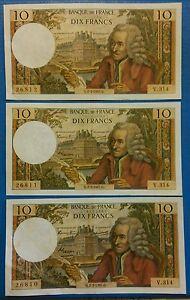 3-billets-10-francs-Voltaire-ancien-SPL-02-02-1967-numero-se-suivant-rare