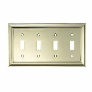 Allen roth polished brass decorative quad toggle wall switch plate ebay - Decorative wall plates electrical ...