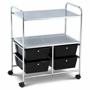 4Drawer Rolling Storage Cart shelf Scrapbook Paper Office School Organizer Black