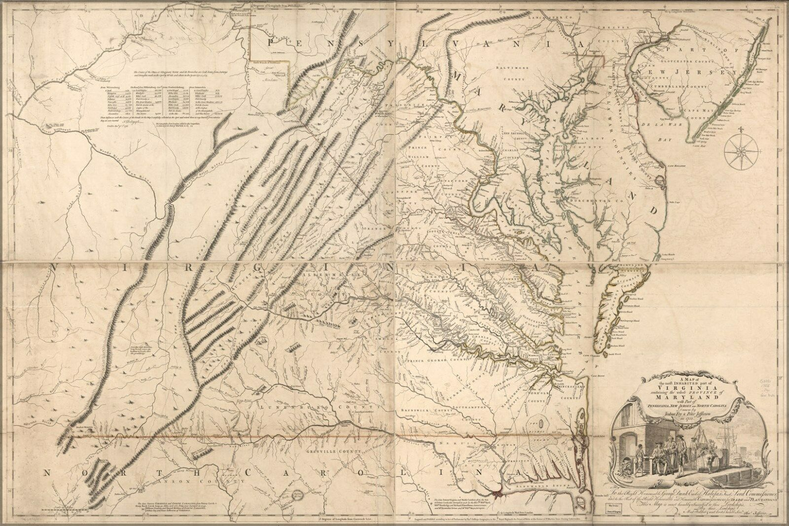 Poster, Many Größes; Map Of Virginia & Maryland 1755 P2