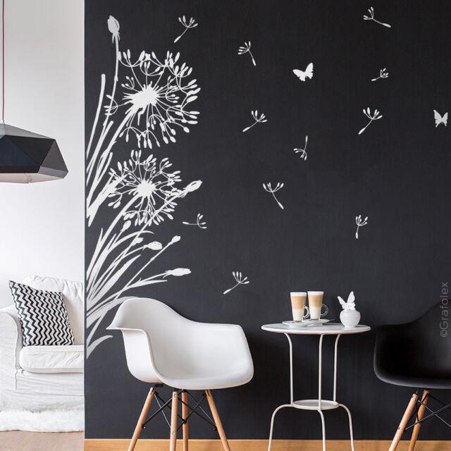 Pusteblumen Wandtattoo Wandaufkleber Weiss Gras Blume Schmetterlinge Tattoo W322x Ebay