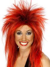 Señoras 80 Ochenta 80's Rock Diva Mullet Fancy Dress Peluca Red/black Nuevas Smiffys