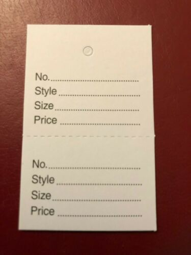 500 DUAL PERFORATED LABELS CLOTHES TAGS NUMBER STYLE SIZE PRICE WHITE CARD NEW