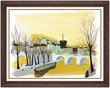 Charles Levier Original Acrylic Painting Large Paris Landscape Signed Artwork