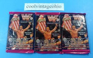 WWF-Action-Packed-1994-Wrestling-Trading-Cards-Lot-of-3-Unopened-Packs-WWE-NEW