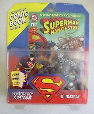 MOC 1995 HASBRO HUNTER PREY SUPERMAN & DOOMSDAY ACTION FIGURE SET W/ COMIC BOOK