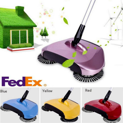 Spin Hand Push Sweeper Broom Household Floor Dust Cleaning Mop No Electricity US