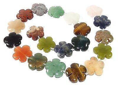 Verschiedene Edelstein-Blumen Perlen ✿ bunter Mix ✿ 15mm oder 20mm - 1 Strang