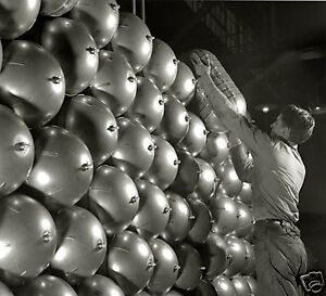WW2-B-amp-W-Photo-Aircraft-Oxygen-Bottles-at-Factory-WWII-WW2-World-War-Two
