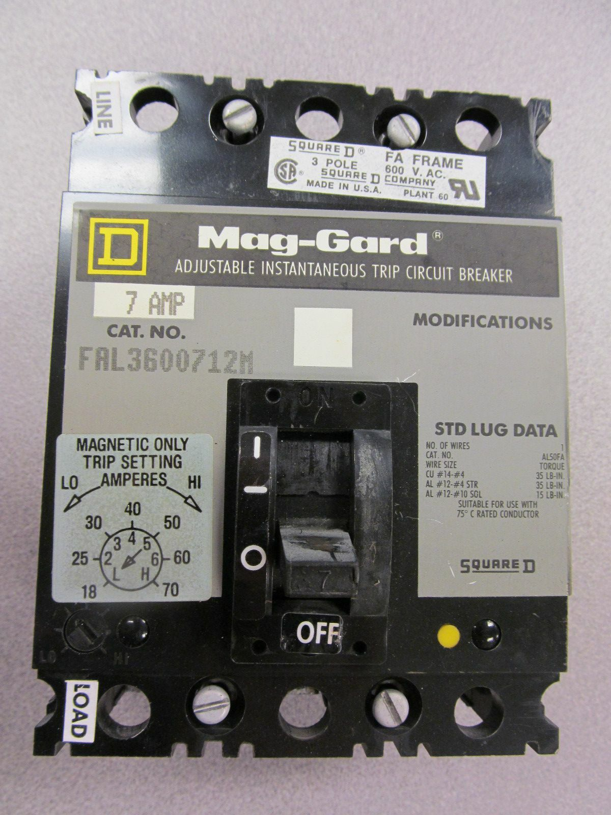 Square d fal3600712m circuit breaker 7 amp 600 v 3 pole ebay greentooth Image collections
