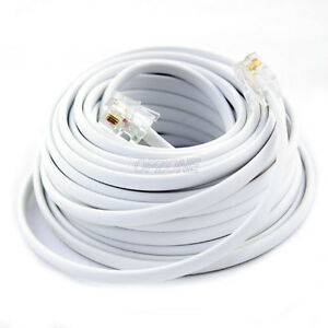 New 100Ft 100\' Feet White Phone Line Cord DSL Cable 4 Wires Inside ...