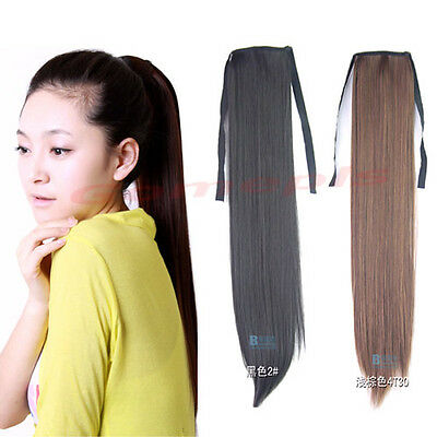 3 Colors Girl's Cute Synthetic Long Straight Ponytail Lovely Hair Extensions