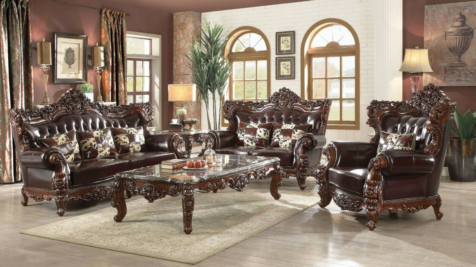Barcelona Dark Brown Tufted Traditional 2pc Leather Sofa Set With Winged  Back